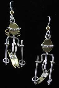 Skier Earrings -- for skier in your life, super silly and cute.