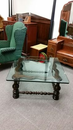 Ethan Allen Glass And Wood Coffee Table At Quality Used Furniture Warehouse  214 232
