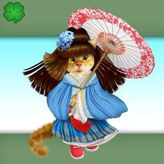 Good luck greeting card, nice cat, cute, kawai