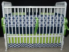 Boy Crib Bumper, Crib Skirt, And Minky Sheet In Green And Blue