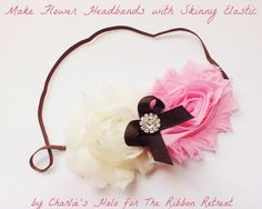 How to Make Headbands with Skinny Elastic! Tutorial using Frayed Shabby Chiffon Flowers.