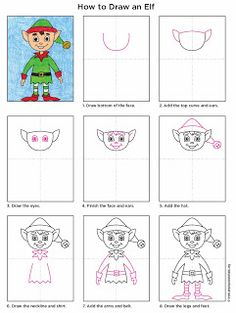 How to Draw an Elf (Art Projects for Kids) Christmas Art Projects, Christmas Arts And Crafts, Winter Art Projects, Kids Christmas, Projects For Kids, Christmas Activities, Drawing For Kids, Art For Kids, Drawing Art