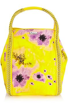 I like the contrast of soft peony print with the tough leather lacing. Karen Millen.