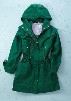Emerald green rain jacket // Steve Madden. Love the anorak shape!
