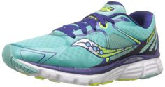 Saucony Women's Kinvara 6 Running Shoe, Blue/Citron, 5 M US. Lightweight FlexFit seamless upper with lace-up vamp for secure fit. 4mm heel-to-toe offset. PowerGrid full-length cushioning. Pro-Lock flexible fit lacing. Durable iBR+ outsole pods. XT-900 carbon rubber outsole.