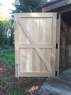 Oak garage doors manufactured by Medina Joinery, Garage Door Windows, Diy Garage Door, Wooden Garage Doors, Garage Door Design, Diy Door, Timber Roof, Timber Windows, Wooden Windows, Building A Fence Gate