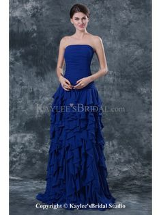 Chiffon Strapless Sweep Train A-line Mother Of The Bride Dress with Ruffle