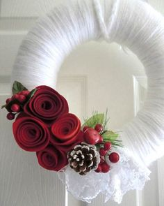 Romantic Scarlet Roses & Lace Wreath