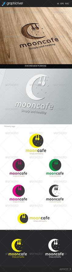 Moon Cafe Logo by Aestro Moon Cafe Logo design for creative studio company. Featured:AI Document EPS 10 Document PDF Document Vector (Re-siza Word Template Design, Print Templates, Cafe Logo, Logo Ad, Food Logo Design, 3d Design, Moon Food, Moon Cafe, Ecommerce Logo