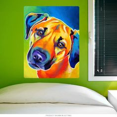 This colorful wall decal features Desert Southwest inspired pop art of a lucky family's pet dog. 12