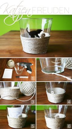 glass, cord, decoration, DIY, cats, candles