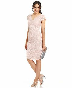 Comes in silver and gunmetal. V-back. Marina Cap-Sleeve Lace Dress - Dresses - Women - Macy's