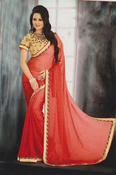 Red plain chiffon saree with blouse - Agrwalas - 443586 Plain Chiffon Saree, Latest Sarees, Traditional Sarees, Punjabi Suits, Saris, Couture Fashion, Wonder Woman, India, Brand New