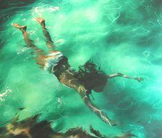 Underwater paintings by Sarah Harvey.