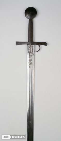 Thumbnail image of Sword Sword, hilt with finger guard and with the date 1432; blade Oakeshott type XIX; pommel Oakeshott type G; cross-guard Oakeshott type 5, probably Italian