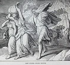 Lot's flight from the destruction of Sodom, in the course of which Lot's wife looked back and became a pillar of salt