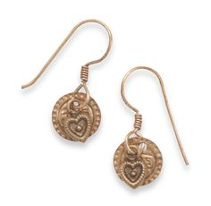 Copper French Wire Earrings with Copper Heart and Coin Charm