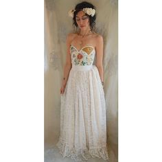 Meadow Bustier Wedding Gown women dress boho whimsical woodland... ❤ liked on Polyvore featuring dresses, prom dresses, boho dresses, brown prom dresses, brown dress and vintage bohemian dresses