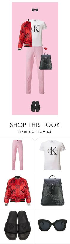 """""""Pink and red on men"""" by krisz-kn ❤ liked on Polyvore featuring Re-HasH, Calvin Klein, Gucci, Emporio Armani, Versace, Simplify, men's fashion and menswear"""