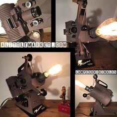 Voici une des créations de lampesoriginales. Un très ancien projecteur de cinéma 8 mm La lampe s'allume grâce a l.interrupteur d.origine . Super belle !!! Je l'ai monté en la - 20084534