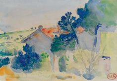Artwork by Henri-Edmond Cross, Vue du midi, Made of watercolor and graphite on paper