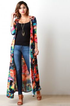 Super style casual outfits ideas for spring summer fashion trendy outfits 2019 Kimono Outfit, Kimono Fashion, Hijab Fashion, Fashion Dresses, Kimono Cardigan, Longline Cardigan, Look Fashion, Urban Fashion, Womens Fashion