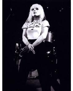 Four black & white photos of Blondie live at Cleveland, Ohio, USA, 1977.