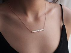 Coordinates Bar Necklace / Personalized Gold Silver Bar Necklace / GPS Coordinates Necklace / Bridesmaid jewelry CN04