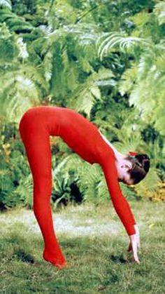 1958: Audrey Hepburn (Hollywood actress) on MGM's film set 'Green Mansions' practicing yoga..... #vintageyoga #yogahistory #1950s #hollywoodyoga #yogaworld