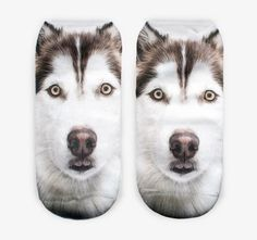 women's girls 3D Husky or Malumite Print Low Rise Socks Zabardo.com