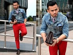 H&M Denim Jacket, American Eagle Outfitters Longsleeves Shirt, H&M Neck Tie, Andrew's Ties Pocket Square, American Eagle Outfitters Red Pants, Ted Baker Printed Socks, Iconic Wing Tips - Rough Redness - Paul Ramos