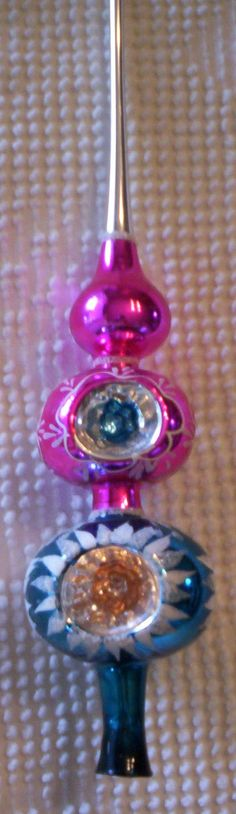 Vintage Bright Pink and Blue Mercury Glass Tree Topper