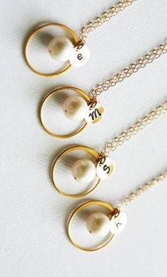 Personalized pendants for your bridesmaids! Sweet and thoughtful gift they're sure to love. <3