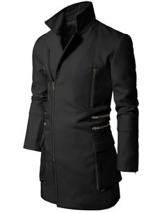 Mens Black Trench Style Coat