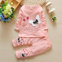 2pc Baby Girls Cotton butterfly T-shirt Long Skirt Pants Toddler Clothes Set