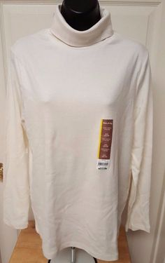 White Stag NWT Woman's Tusk Color Turtleneck Shirt Size L (12-14) #WhiteStag #Turtleneck #Casual