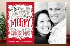 Merry Typography Holiday Postcards by Alethea and Ruth at minted.com