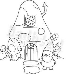 Gnome and mushroom house Embroidery