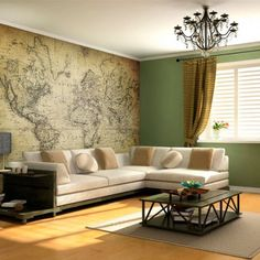 World map wall mural sticker (removable)