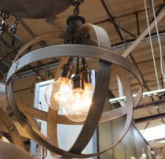 Medium steel band sphere chandelier in zinc finish by ParisEnvy