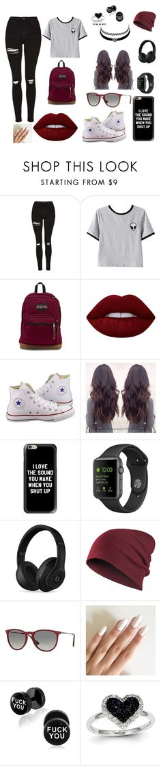 """""""Anani's Outfit"""" by takhya ❤ liked on Polyvore featuring Topshop, Chicnova Fashion, Lime Crime, Converse, Charlotte Russe, Casetify, Beats by Dr. Dre, Ray-Ban, Kevin Jewelers and Allurez"""