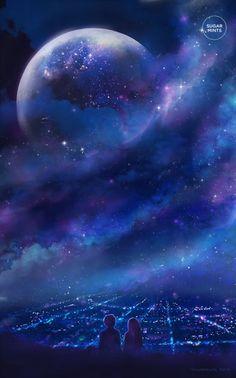 Original art poster: Fantasia Anime Poster by SugarmintsArtstore Anime Galaxy, Galaxy Art, Galaxy Planets, Fantasy Kunst, Fantasy Art, Space Fantasy, Anime Kunst, Anime Art, Animé Romance