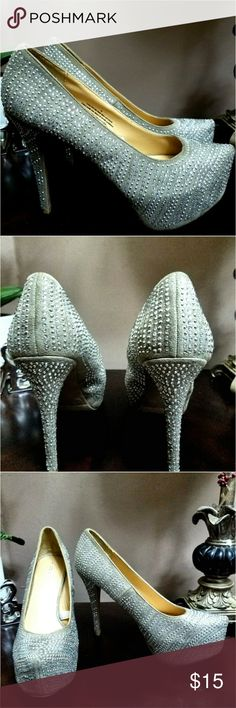 "Exhilaration Sparkly Heels. Great condition. Sparkly heel. They are actually a dark beige color. 4.5"" heel. No box. Exhilaration  Shoes Heels"