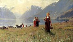 """""""A Summer's Day"""" by Hans Dahl,Norwegian artist. Painting shows four Norwegian girls in the traditional dress."""