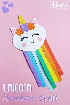 Unicorn rainbow craft rainbow fun for kids crafts, rainbow c Paper Crafts For Kids, Fun Crafts For Kids, Summer Crafts, Toddler Crafts, Art For Kids, Kids Diy, Diy Crafts New, Magic Crafts, Art And Craft