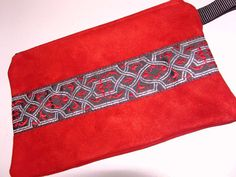 Red Suede LEATHER Bag/Purse with Embroidered by ScentedSoftandSewn