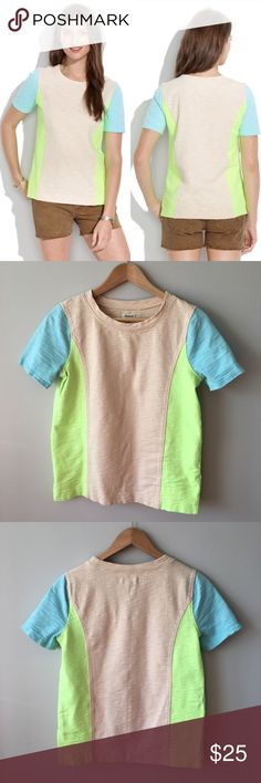 Madewell Neon Surf Tee Colorblock neon panels and subtly stretchy fabric collide on this delicately structured gem. ·        True to size ·        Substantial, heavy weight cotton ·        Machine wash ·        Style # 1261  Lightly worn and washed a couple of times – no stains, holes, or pilling – great condition. Bundle & save 💰! Sorry - 🚫 trades! Madewell Tops Tees - Short Sleeve