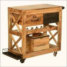 Rustic Rolling Solid Wood And Iron Wine Rack Cabinet Serving Cart