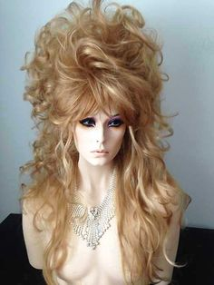 Long Drag Queen Wig in Blonde Mix with Tendril and Curls Fancy Hairstyles, Wig Hairstyles, Drag Wigs, Wig Party, Natural Hair Styles, Long Hair Styles, Hair Reference, Halloween Hair, Queen Hair