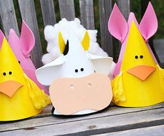Farm Animal Party Hats     Let kids make their own party favors with this easy craft.    How to Make It:   Unroll a standard cone-shape party hat. Cut a piece of crafts foam to fit the hat shape. Use a glue stick to adhere the foam and reassemble the hat. Cut shapes from the crafts foam to make the hats resemble farm animals. Attach the shapes using a glue gun. Embellish with small pom-poms, cotton balls, and tissue paper